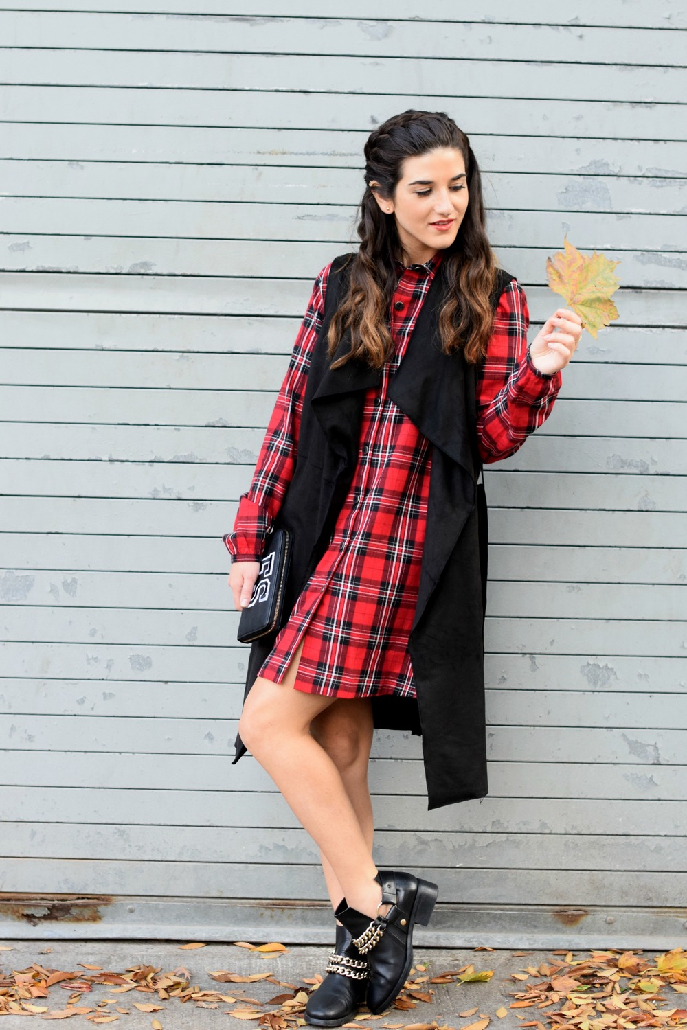 Plaid Dress Long Black Vest Louboutins & Love Fashion Blog NYC Street Style Blogger Fall Weather Season Outfit OOTD Chain Booties Zara Monogram Wallet Hair Braid Inspo Pretty Shirt Shopping Girl Women Photoshoot Model Shoes Wearing Fashionista Leaves.jpg