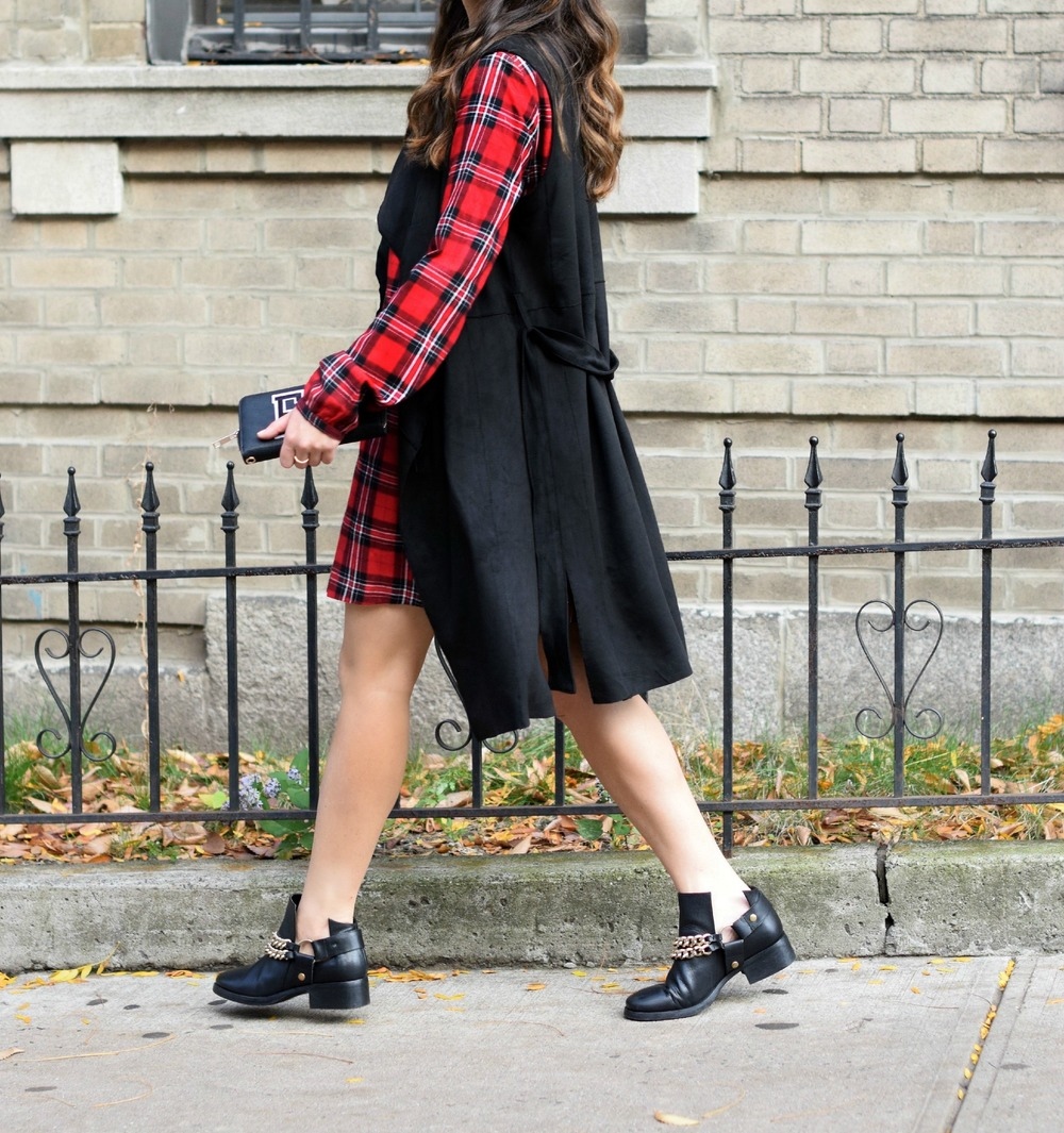 Plaid Dress Long Black Vest Louboutins & Love Fashion Blog NYC Street Style Blogger Fall Weather Season Outfit OOTD Chain Booties Zara Monogram Wallet Hair Braid Inspo Pretty Shirt Shopping Girl Women Shoes Photoshoot Model Leaves Fashionista Wearing.jpg