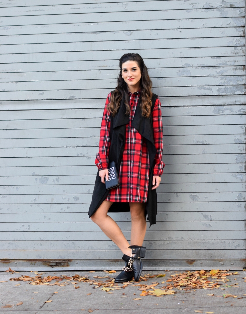 Plaid Dress Long Black Vest Louboutins & Love Fashion Blog NYC Street Style Blogger Fall Weather Season Outfit OOTD Chain Booties Zara Monogram Wallet Hair Braid Inspo Pretty Shirt Shopping Girl Women Shoes Leaves Photoshoot Model Wearing Fashionista.jpg