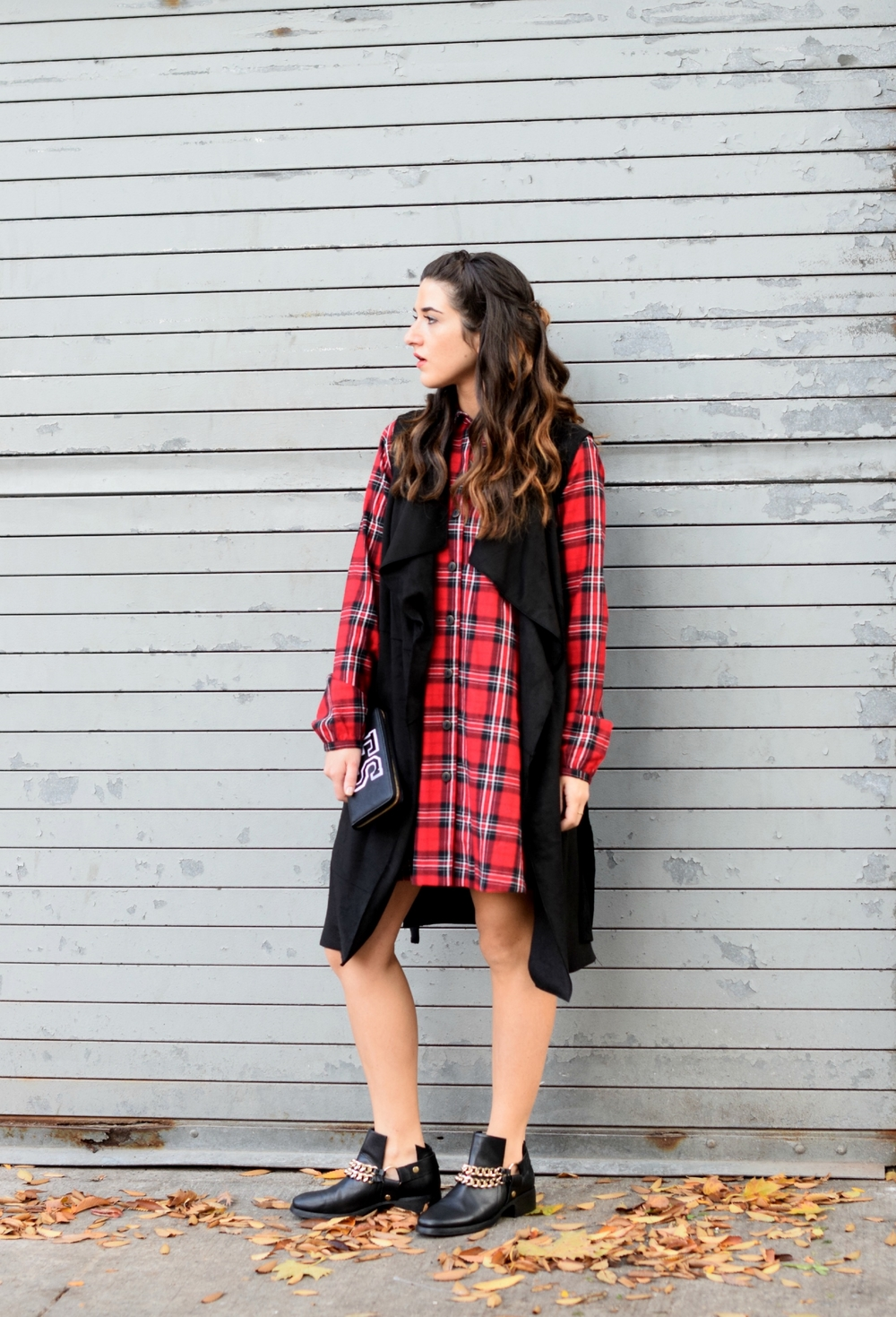 Plaid Dress Long Black Vest Louboutins & Love Fashion Blog NYC Street Style Blogger Fall Weather Season Outfit OOTD Chain Booties Zara Monogram Wallet Hair Braid Inspo Pretty Shirt Shopping Girl Women Shoes Model Leaves Photoshoot Wearing Fashionista.jpg