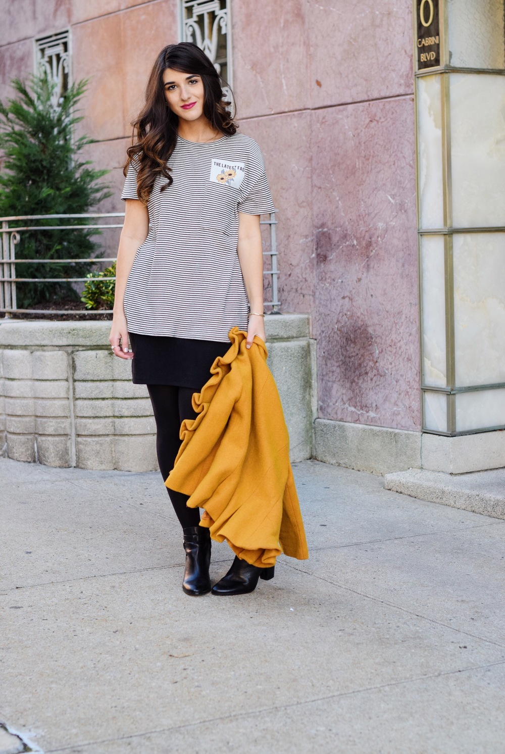 Yellow Ruffled Jacket Striped Tee Louboutins & Love Fashion Blog Esther Santer NYC Street Style Blogger Zara Pocket Tshirt Outfit OOTD Inspo Inspiration Photoshoot New York City Black Booties Louise et Cie Nordstrom Hair Shoes Fall Girl Women Shopping.jpg