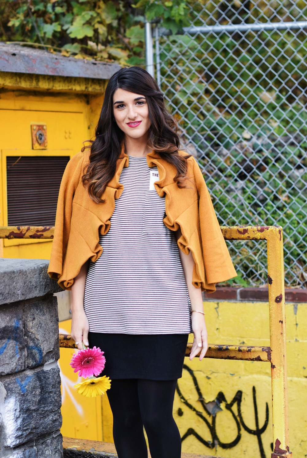 Yellow Ruffled Jacket Striped Tee Louboutins & Love Fashion Blog Esther Santer NYC Street Style Blogger Zara Pocket Tshirt Outfit OOTD Inspo Inspiration Photoshoot New York City Black Booties Louise et Cie Nordstrom Hair Brunette Girl Women Shopping.jpg