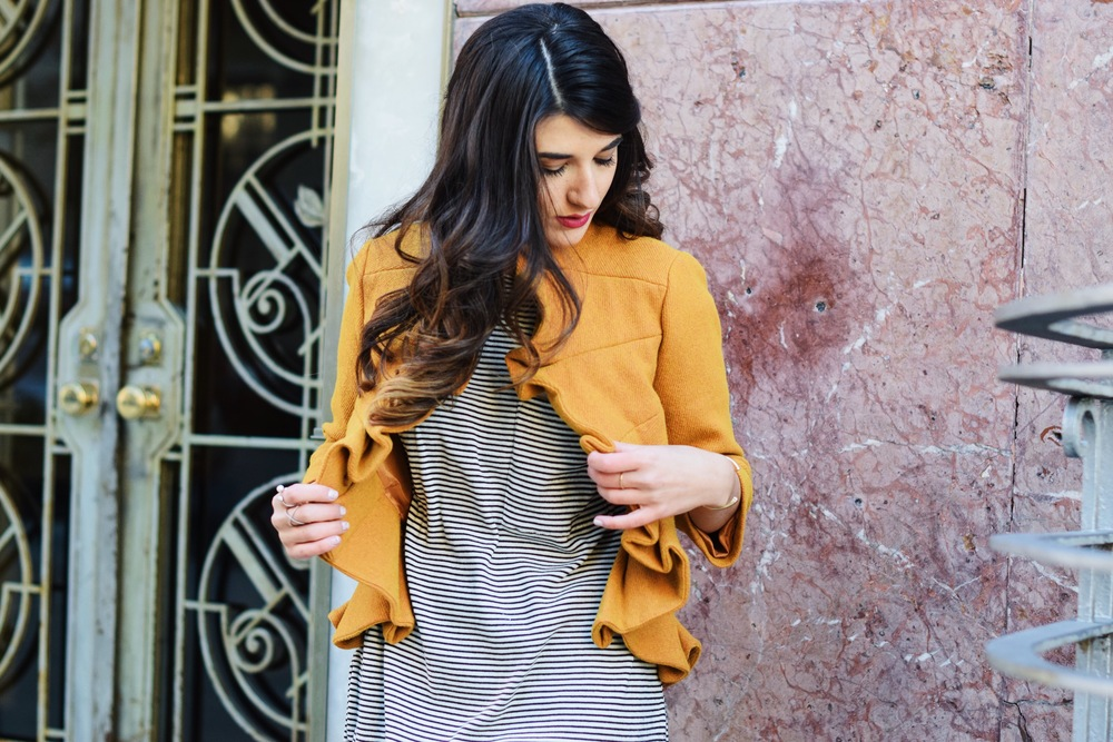 Yellow Ruffled Jacket Striped Tee Louboutins & Love Fashion Blog Esther Santer NYC Street Style Blogger Zara Pocket Tshirt Outfit OOTD Inspo Inspiration Photoshoot New York City Black Booties Shoes Soul Beadz Jeweled Rings Girl Hair  Women Shopping.jpg