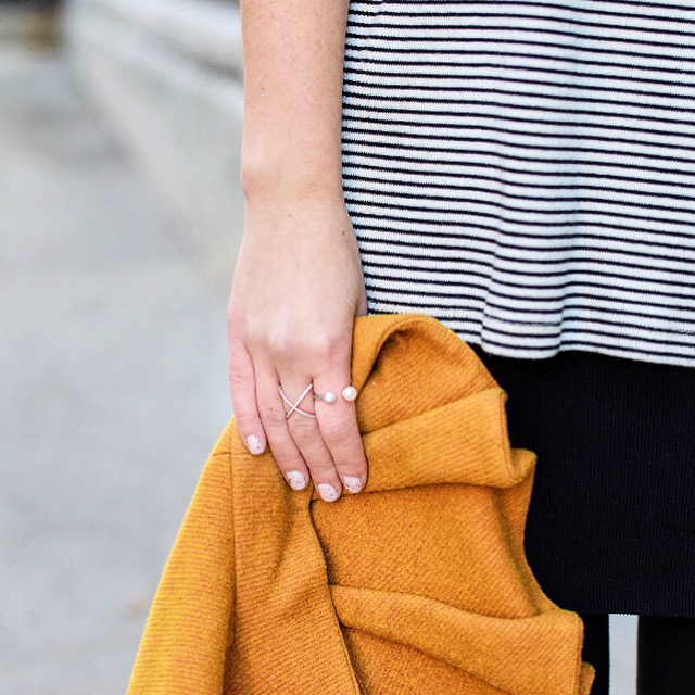 Yellow Ruffled Jacket Striped Tee Louboutins & Love Fashion Blog Esther Santer NYC Street Style Blogger Zara Pocket Tshirt Outfit OOTD Inspo Inspiration Photoshoot New York City Black Booties Shoes Soul Beadz Jeweled Rings Hair Girl Women Shopping.jpg