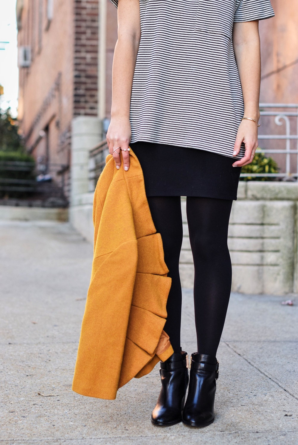 Yellow Ruffled Jacket Striped Tee Louboutins & Love Fashion Blog Esther Santer NYC Street Style Blogger Zara Pocket Tshirt Outfit OOTD Inspo Inspiration Photoshoot New York City Black Booties Shoes Soul Beadz Jeweled Rings Girl Hair Shopping Women.jpg