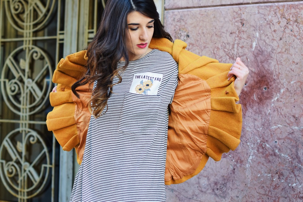 Yellow Ruffled Jacket Striped Tee Louboutins & Love Fashion Blog Esther Santer NYC Street Style Blogger Zara Pocket Tshirt Outfit OOTD Inspo Inspiration Photoshoot New York City Black Booties Shoes Soul Beadz Jeweled Rings Hair Women Girl Shopping.jpg