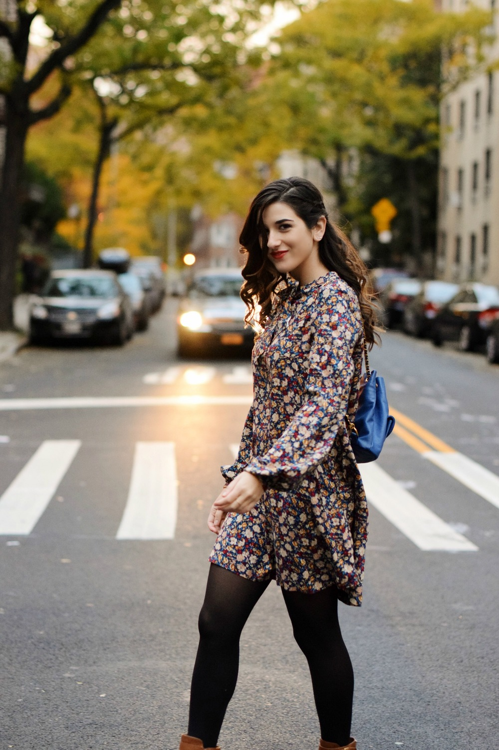 Floral Dress Blue Leather Backpack Louboutins & Love Fashion Blog Esther Santer NYC Street Style Blogger Black Tights Fringe Preta Ivanka Trump Booties Hair Girl Women Shopping Inspo Inspiration Model New York City Photoshoot Trendy Winter OOTD Outfit.jpg