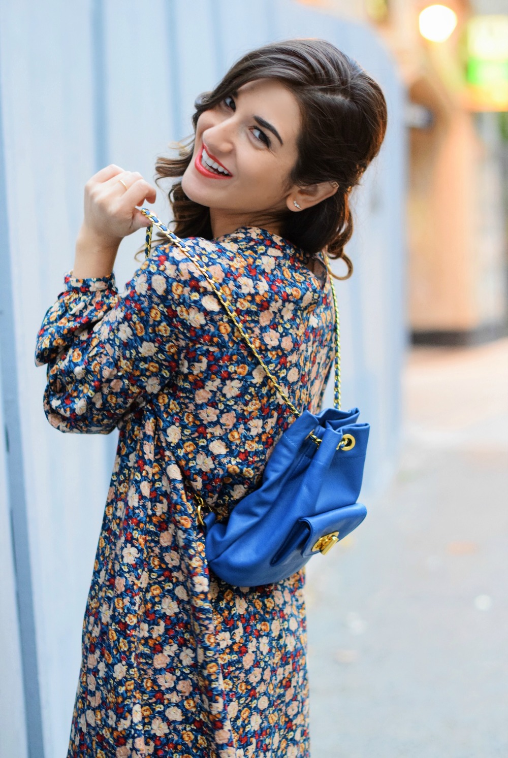 Floral Dress Blue Leather Backpack Louboutins & Love Fashion Blog Esther Santer NYC Street Style Blogger Black Tights Fringe Preta Ivanka Trump Booties Hair Girl Women Shopping Inspo Inspiration Model Photoshoot New York City Trendy Winter OOTD Outfit.jpg