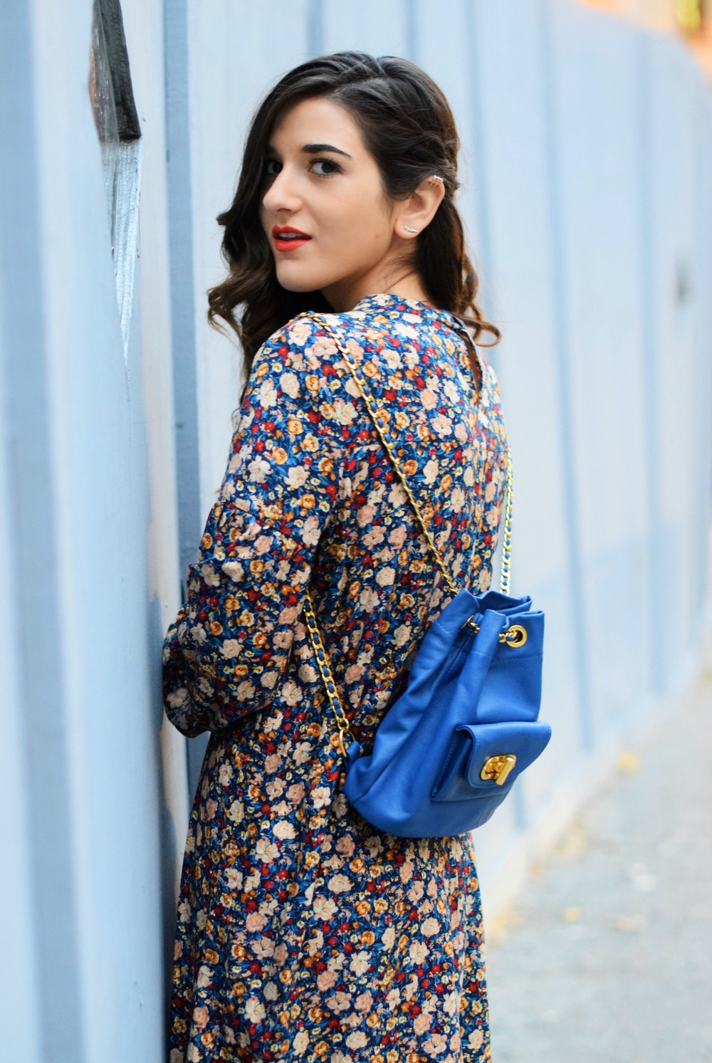 Floral Dress Blue Leather Backpack Louboutins & Love Fashion Blog Esther Santer NYC Street Style Blogger Black Tights Fringe Preta Ivanka Trump Booties Hair Girl Women Shopping Inspo Inspiration Model Photoshoot New York City Winter OOTD Outfit Trendy.jpg