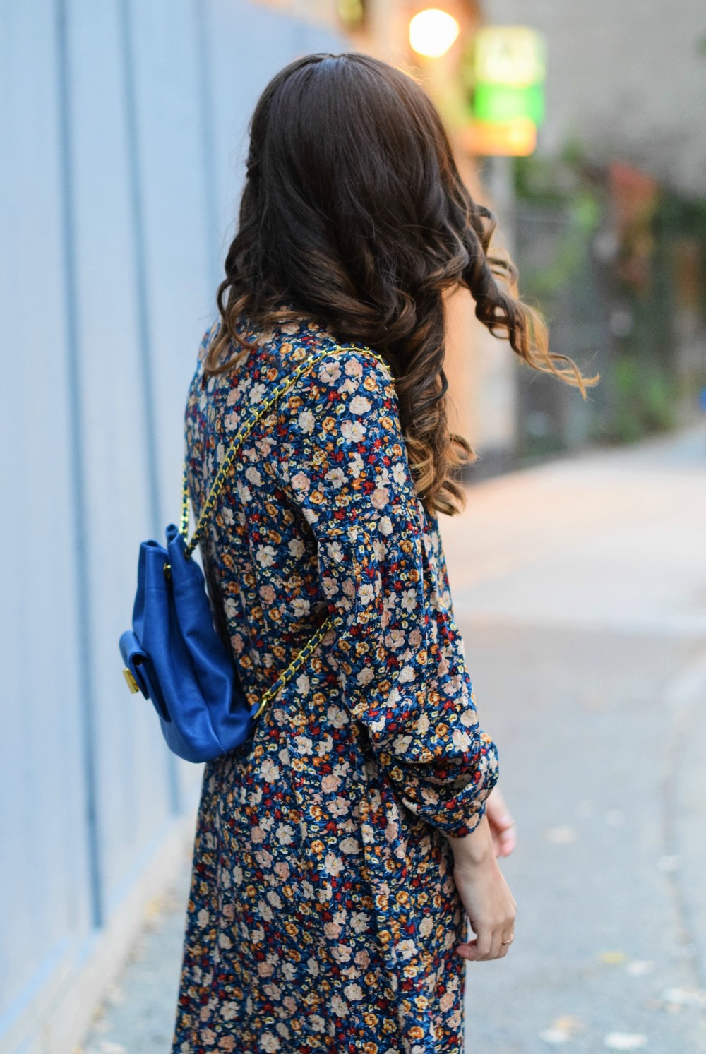 Floral Dress Blue Leather Backpack Louboutins & Love Fashion Blog Esther Santer NYC Street Style Blogger Black Tights Fringe Preta Ivanka Trump Booties Hair Girl Women Shopping Inspo Inspiration Model Photoshoot Trendy New York City Winter Outfit OOTD.jpg