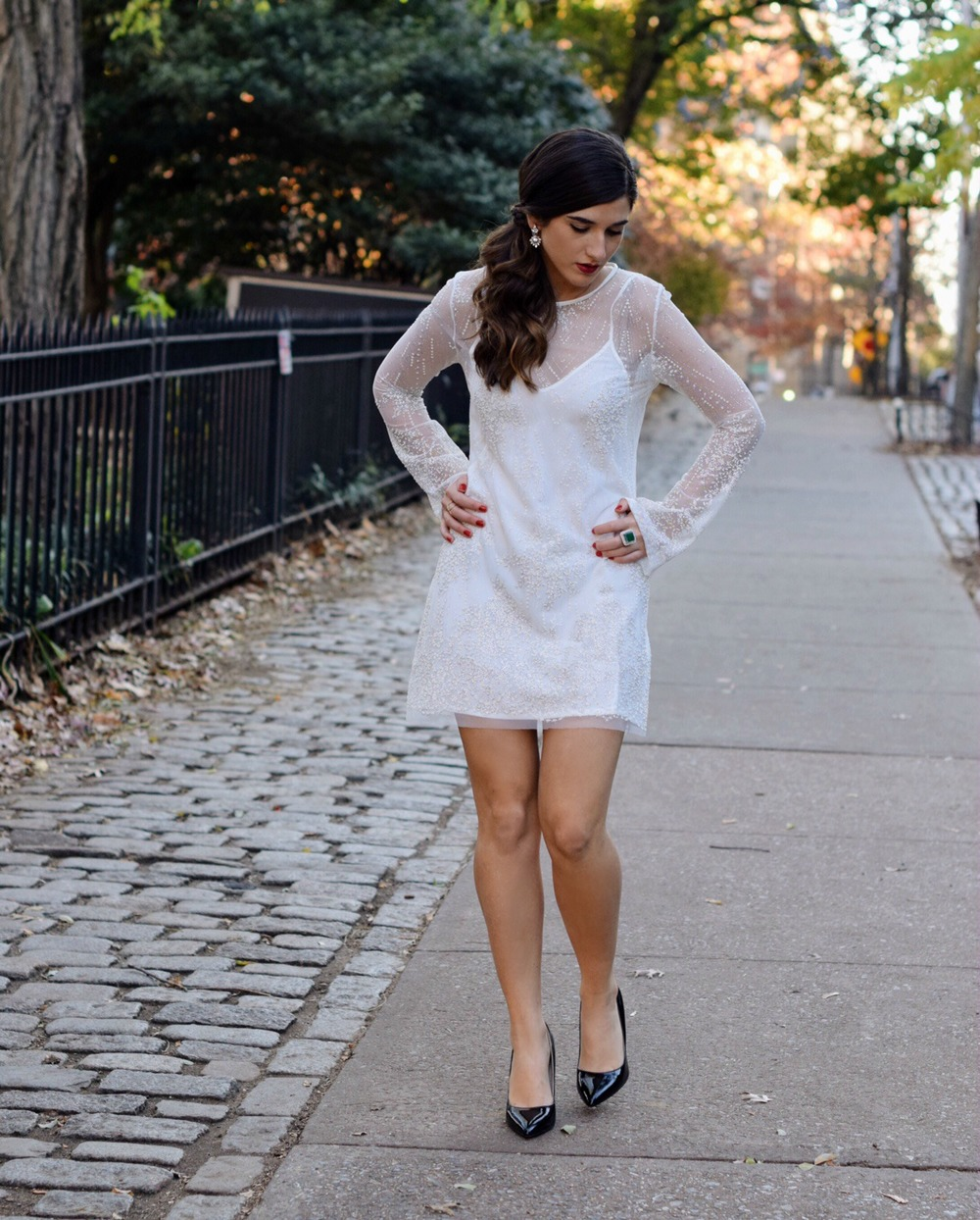 Holiday Look White Glitter Dress Elahn Jewels Louboutins & Love Fashion Blog Esther Santer NYC Street Style Blogger Diamond Rings Happiness Boutique Earrings Emerald Beautiful Fine Jewelry Girl Women Model Outfit Inspo OOTD Shoes Black Heels Shopping.jpg