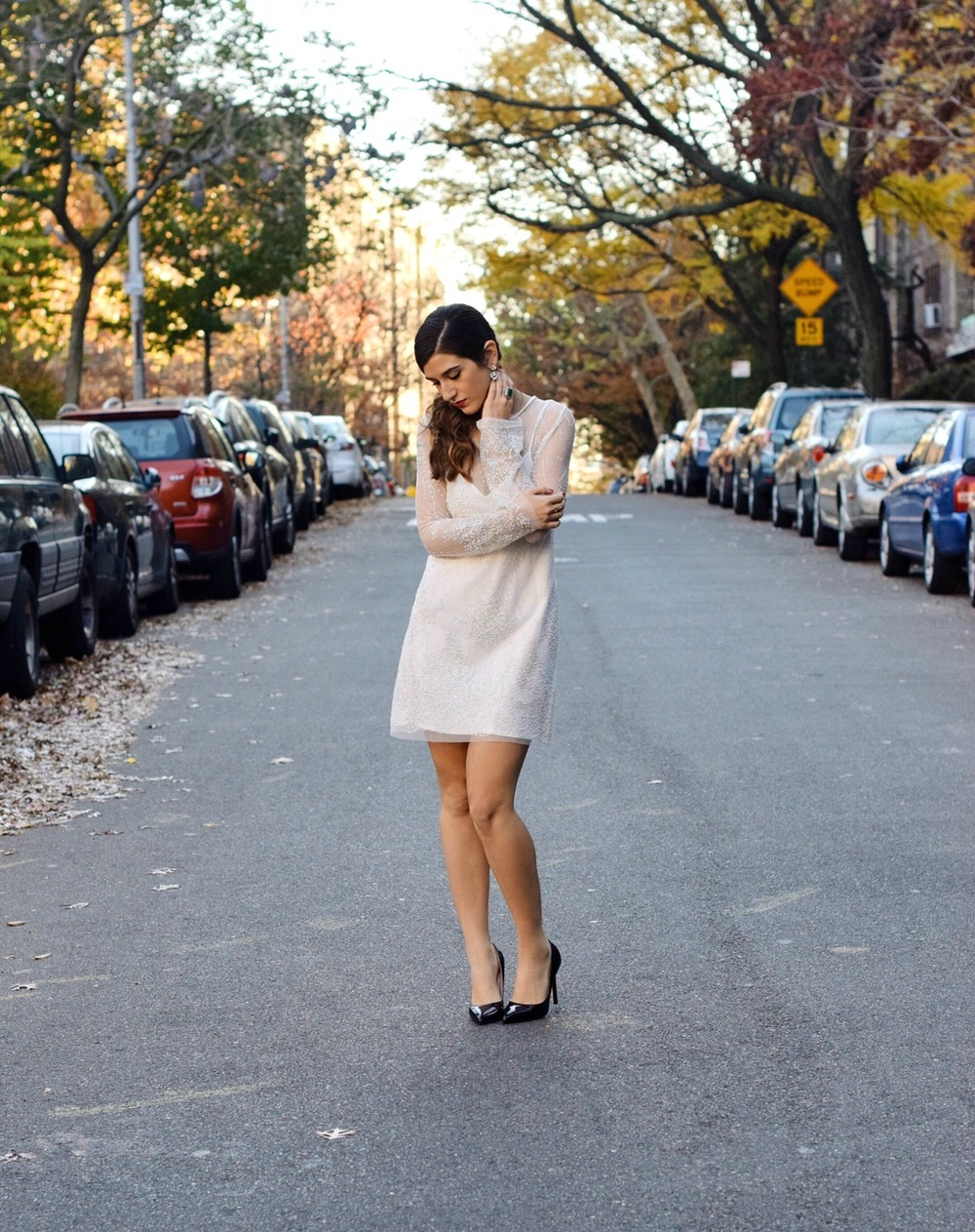 Holiday Look White Glitter Dress Elahn Jewels Louboutins & Love Fashion Blog Esther Santer NYC Street Style Blogger Diamond Rin.jpg