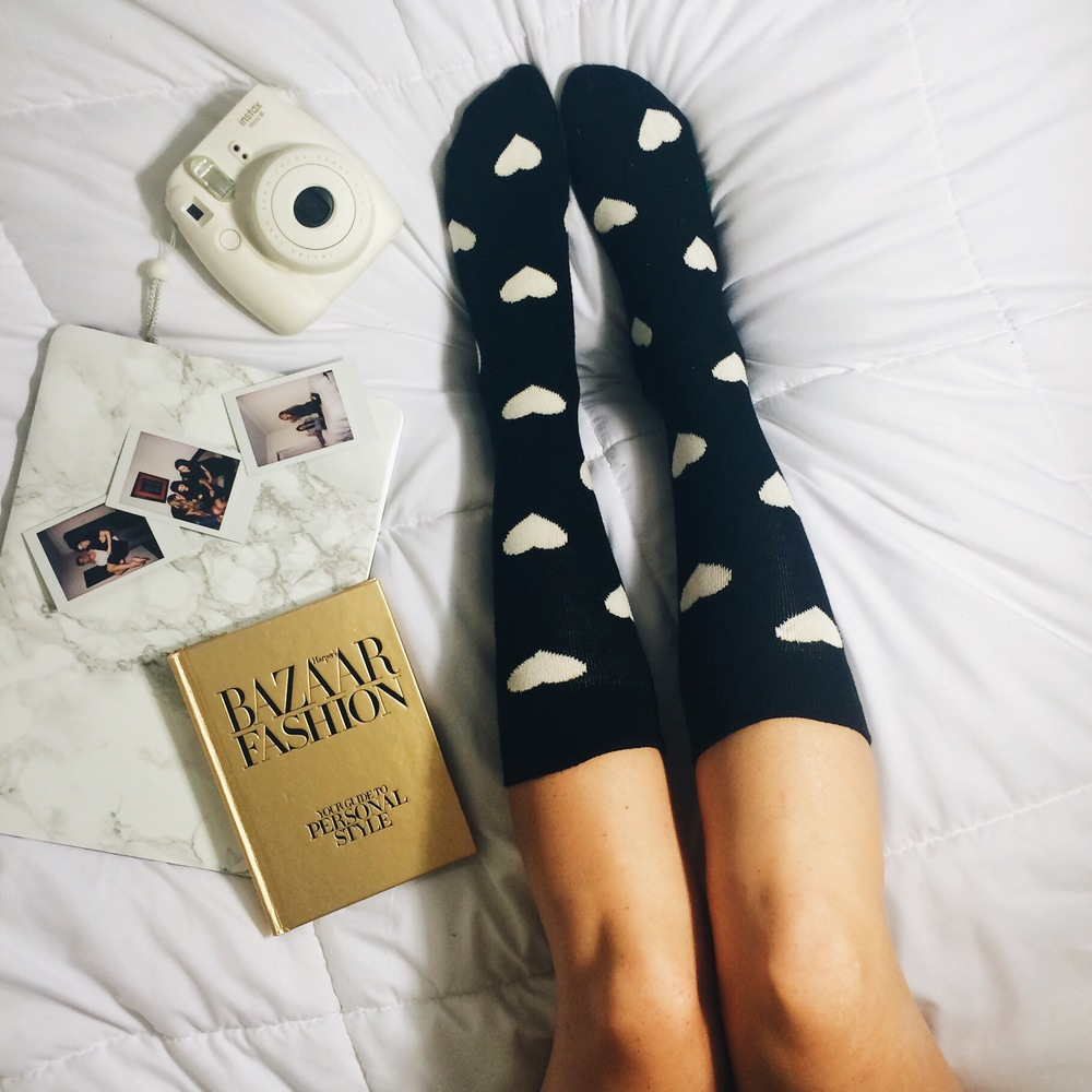 Lazy Days in Happy Socks Louboutins & Love Fashion Blog Esther Santer NYC Street Style Blogger Outfit Inspo Black White Hearts Pattern Print Poloroid Bed Legs Photo Flaylay Marble Macbook Laptop Girl Online Shopping Holiday Gift Collaboration Colorful.jpg