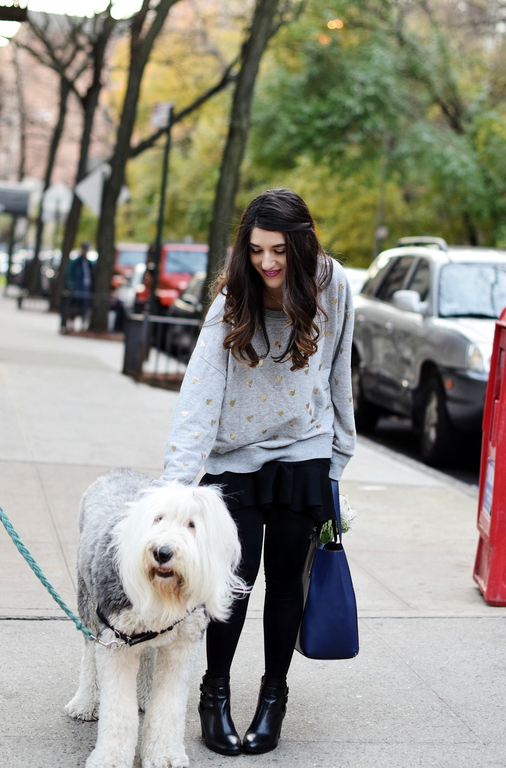 Oversized Sweatshirt Ivanka Trump Soho Tote Louboutins & Love Fashion Blog Esther Santer NYC Street Style Blogger Nordstrom Black Booties Blue Bag Pocketbook Purse Shopping What To Wear Jcrew Winter Dog Model Photoshoot Hair Girl Women Skirt Flowers.jpg