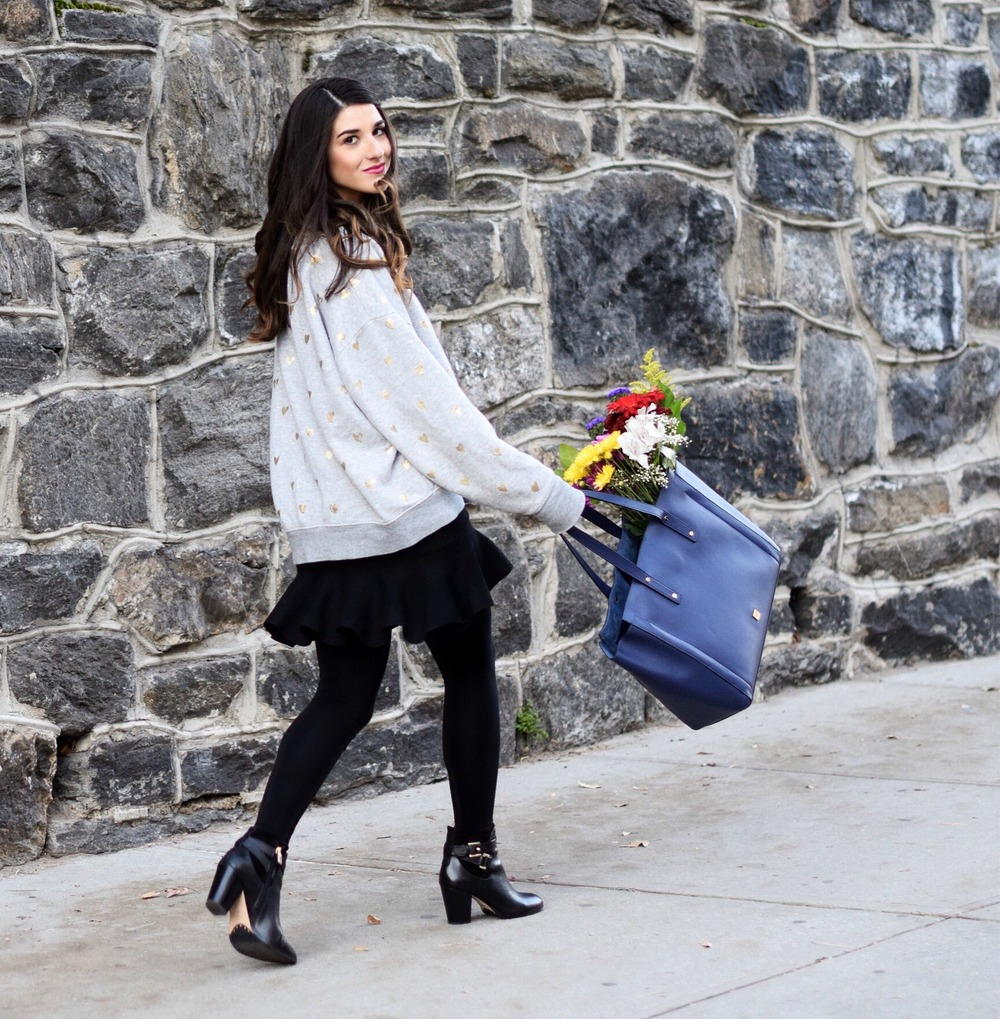 Oversized Sweatshirt Ivanka Trump Soho Tote Louboutins & Love Fashion Blog Esther Santer NYC Street Style Blogger Nordstrom Black Booties Blue Bag Pocketbook Purse Shopping What To Wear Jcrew Winter Inspo Girl Model Photoshoot Skirt Flowers Hairstyle.jpg
