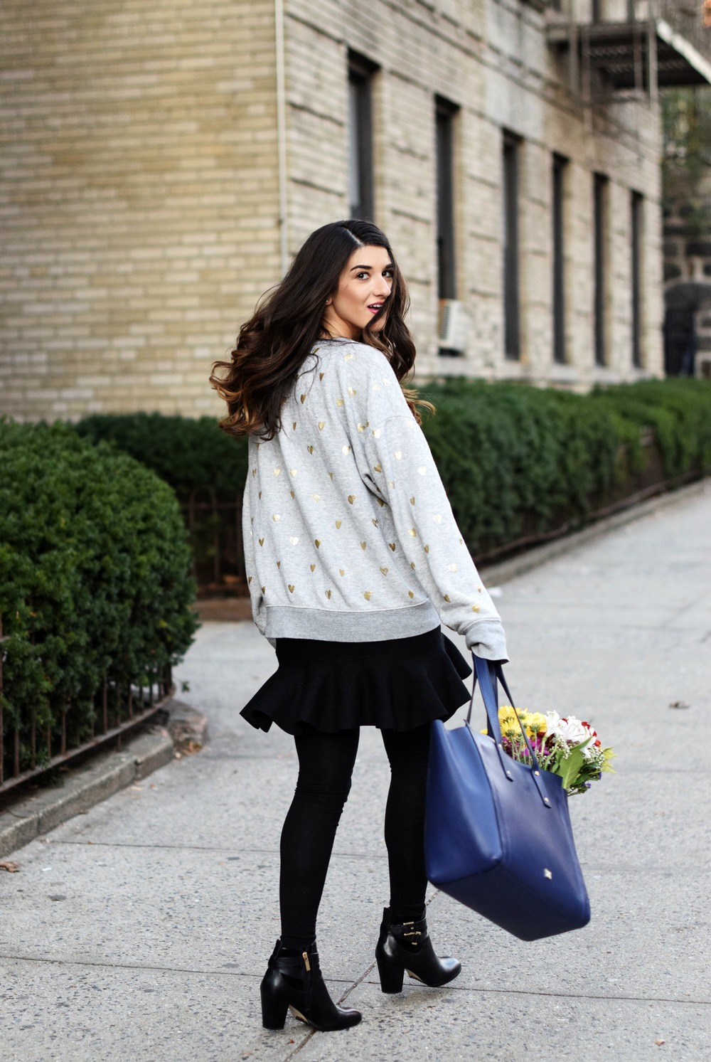 Oversized Sweatshirt Ivanka Trump Soho Tote Louboutins & Love Fashion Blog Esther Santer NYC Street Style Blogger Nordstrom Black Booties Blue Bag Pocketbook Purse Shopping What To Wear Jcrew Winter Inspo Model Girl Photoshoot Hairstyle Skirt Flowers.jpg