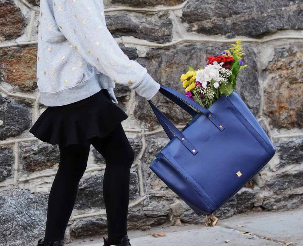 Oversized Sweatshirt Ivanka Trump Soho Tote Louboutins & Love Fashion Blog Esther Santer NYC Street Style Blogger Nordstrom Black Booties Blue Bag Pocketbook Purse Shopping What To Wear Jcrew Winter Inspo Model Girl Photoshoot Skirt Flowers Hairstyle.jpg