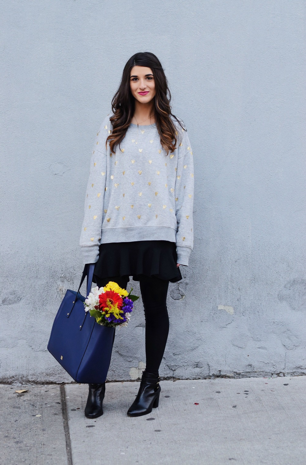 Oversized Sweatshirt Ivanka Trump Soho Tote Louboutins & Love Fashion Blog Esther Santer NYC Street Style Blogger Nordstrom Black Booties Blue Bag Pocketbook Purse Shopping What To Wear Jcrew Winter Inspo Model Photoshoot Hair Girl Women Skirt Flowers.jpg