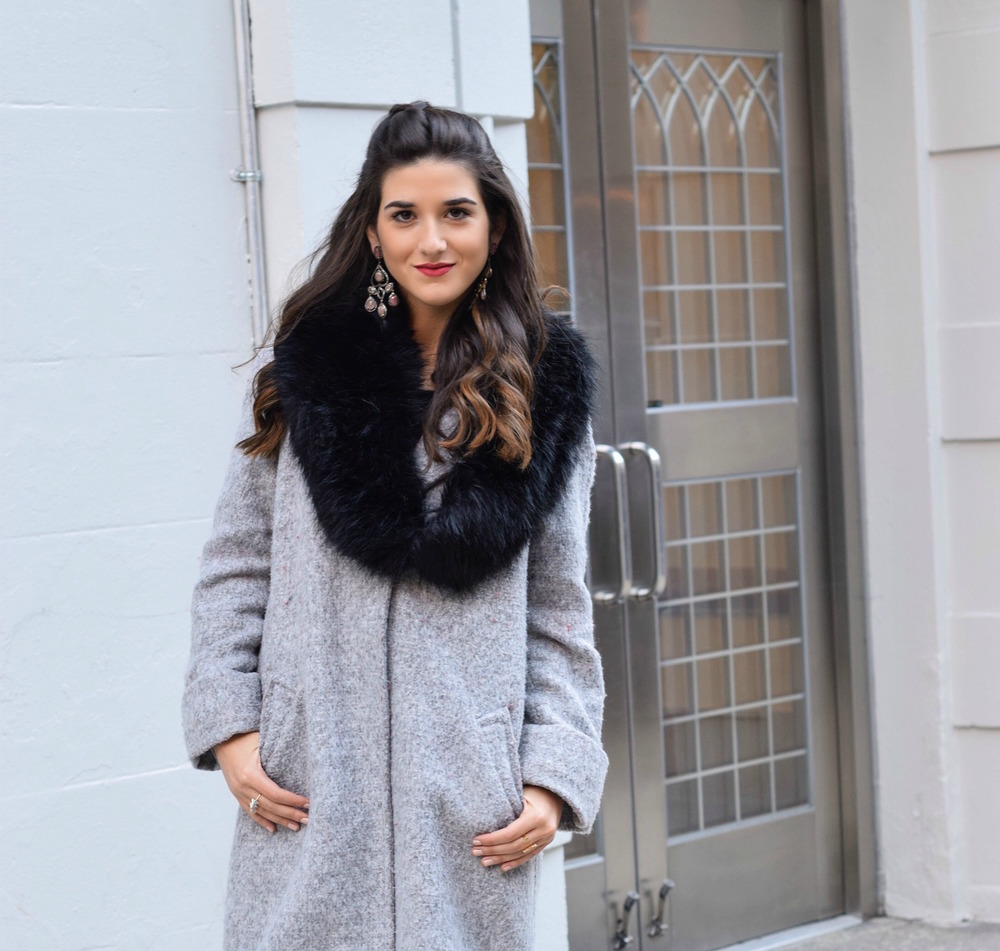 Dripping In Diamonds Elahn Jewels Louboutins & Love Fashion Blog Esther Santer NYC Street Style Blogger Black Fur Stole Earrings Jewelry Grey Peacoat Coat Winter Wear Shopping Beauty Chic Rings Red Sandals Heels Inspo Hair Inspiration OOTD Outfit Zara.jpg