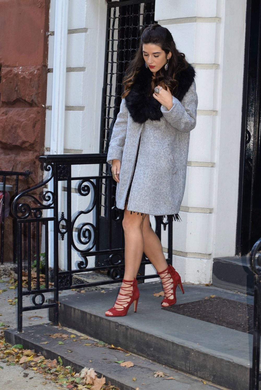 Dripping In Diamonds Elahn Jewels Louboutins & Love Fashion Blog Esther Santer NYC Street Style Blogger Black Fur Stole Earrings Jewelry Grey Peacoat Coat Winter Wear Shopping Beauty Chic Rings Red Heels Sandals Inspo Inspiration Hair OOTD Outfit Zara.jpg