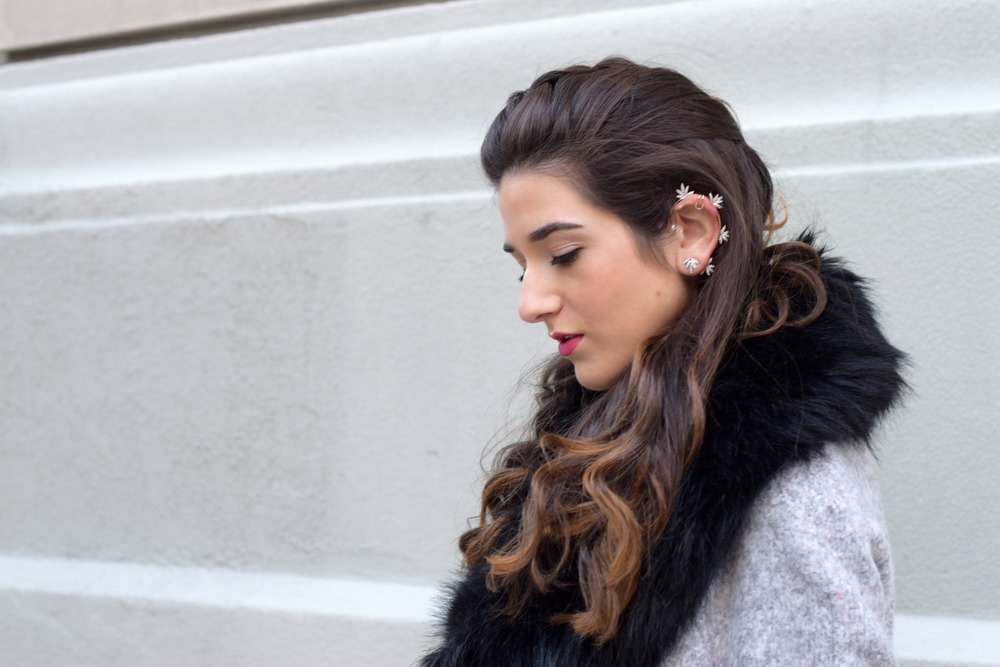 Dripping In Diamonds Elahn Jewels Louboutins & Love Fashion Blog Esther Santer NYC Street Style Blogger Black Fur Stole Earrings Jewelry Grey Peacoat Coat Winter Wear Shopping Beauty Rings Chic Red Heels Sandals Inspo Inspiration Hair OOTD Outfit Zara.jpg