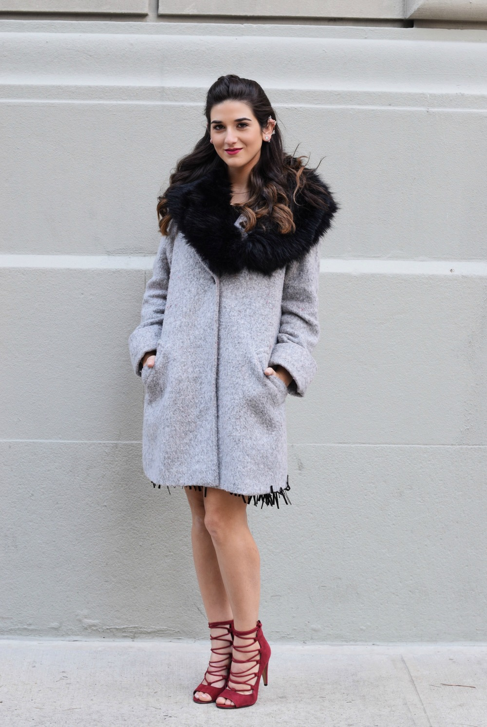 Dripping In Diamonds Elahn Jewels Louboutins & Love Fashion Blog Esther Santer NYC Street Style Blogger Black Fur Stole Earrings Jewelry Peacoat Grey Coat Winter Wear Shopping Beauty Chic Rings Red Heels Sandals Hair Inspo Inspiration Outfit OOTD Zara.jpg