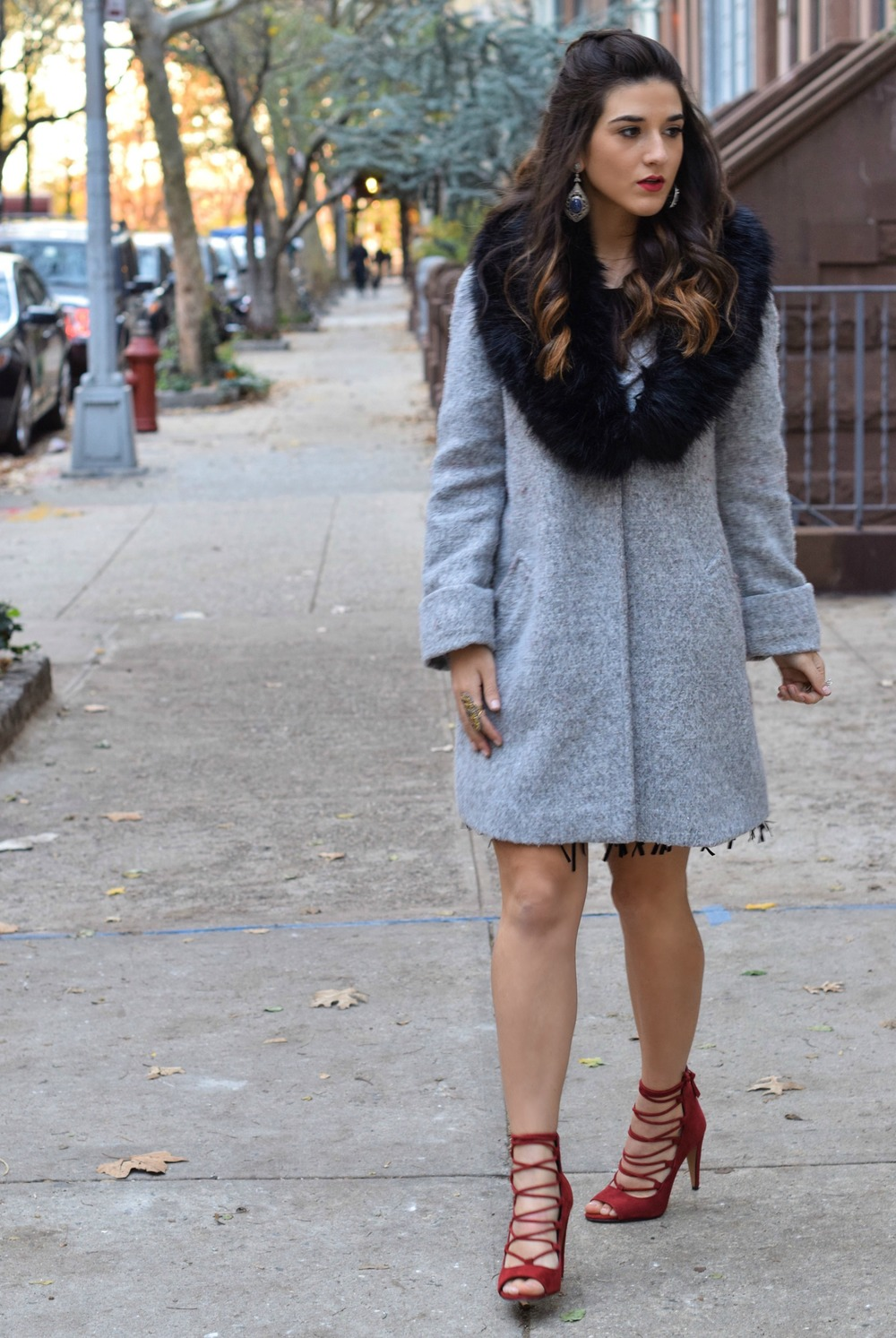 Dripping In Diamonds Elahn Jewels Louboutins & Love Fashion Blog Esther Santer NYC Street Style Blogger Black Fur Stole Earrings Jewelry Peacoat Grey Coat Winter Wear Shopping Beauty Chic Rings Red Heels Sandals Inspo Hair Inspiration OOTD Outfit Zara.jpg