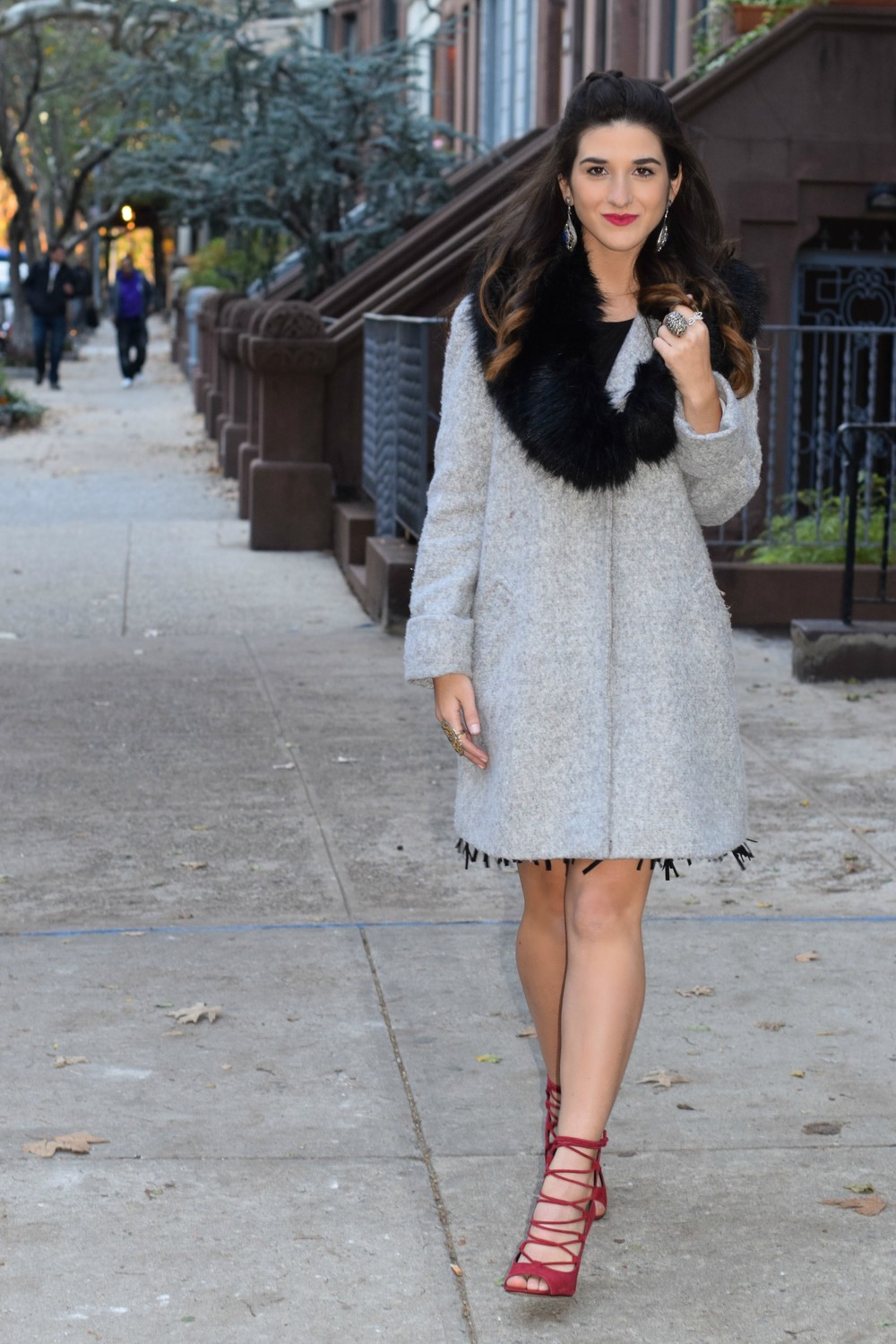 Dripping In Diamonds Elahn Jewels Louboutins & Love Fashion Blog Esther Santer NYC Street Style Blogger Black Fur Stole Earrings Jewelry Peacoat Grey Coat Winter Wear Shopping Beauty Chic Rings Red Sandals Heels Inspo Hair Inspiration OOTD Outfit Zara.jpg