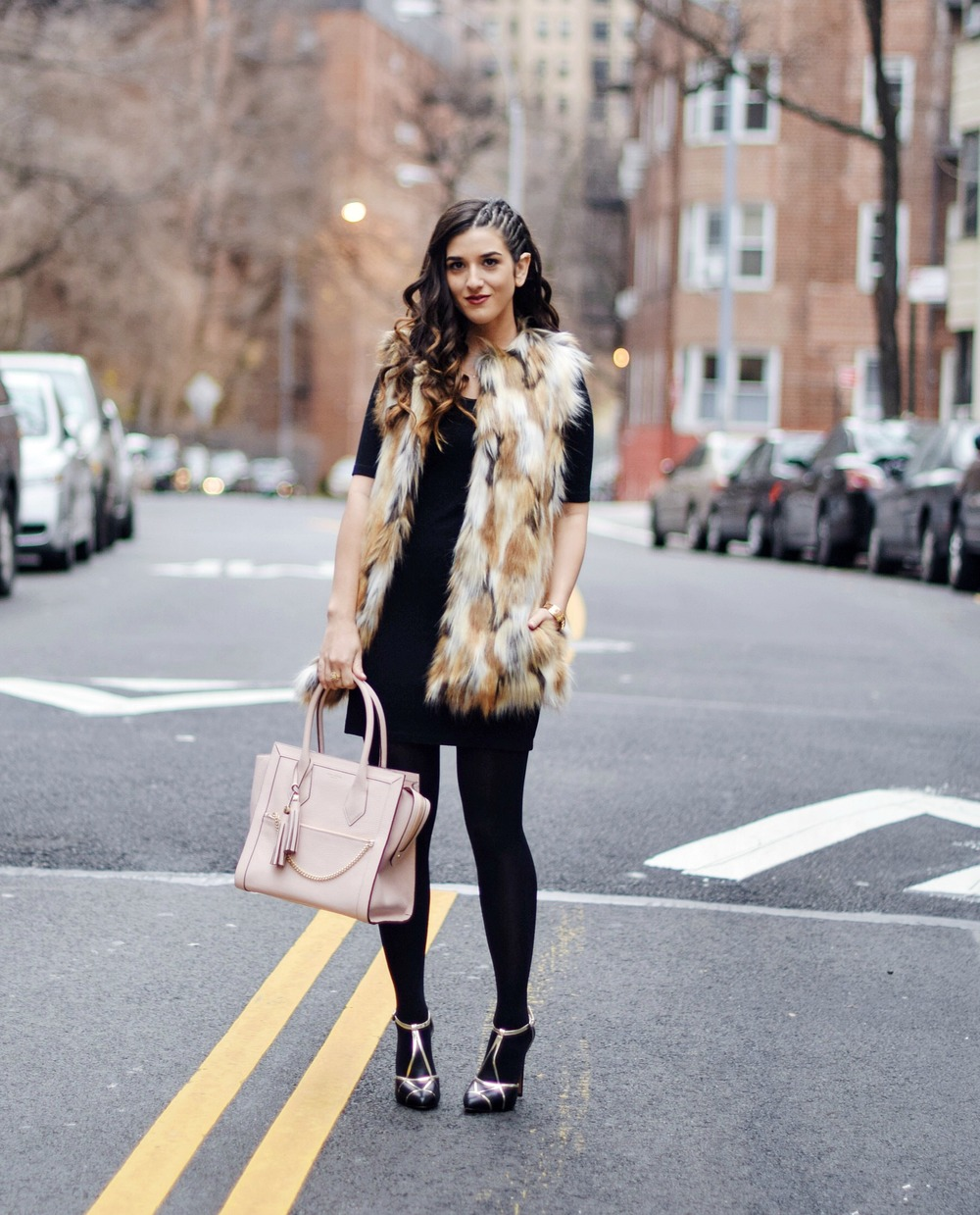 Calico Fur Henri Bendel Structured Leather Bag Louboutins & Love Fashion Blog Esther Santer NYC Street Style Blogger Zara Gold Jewelry Bracelet Pink Purse Vest Hair Inspo Outfit OOTD Cornrows Black Dress LBD Heels Shoes Women Girl Fall Winter Shopping.jpg