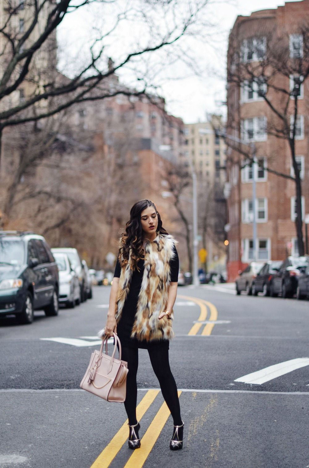 Calico Fur Henri Bendel Structured Leather Bag Louboutins & Love Fashion Blog Esther Santer NYC Street Style Blogger Zara Gold Jewelry Bracelet Pink Purse Vest Hair Inspo Outfit OOTD Cornrows Black Dress LBD Handbag Shopping Girl Women Pocketbook Fall.jpg