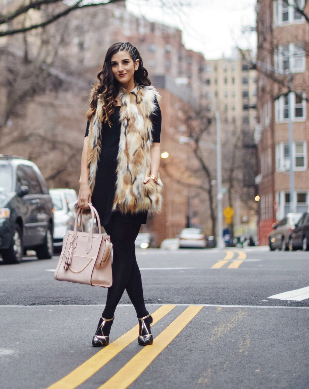 Calico Fur Henri Bendel Structured Leather Bag Louboutins & Love Fashion Blog Esther Santer NYC Street Style Blogger Zara Gold Jewelry Bracelet Pink Purse Vest Hair Inspo Outfit OOTD Cornrows LBD Black Dress Shoes Heels Women Girl Winter Fall Shopping.jpg