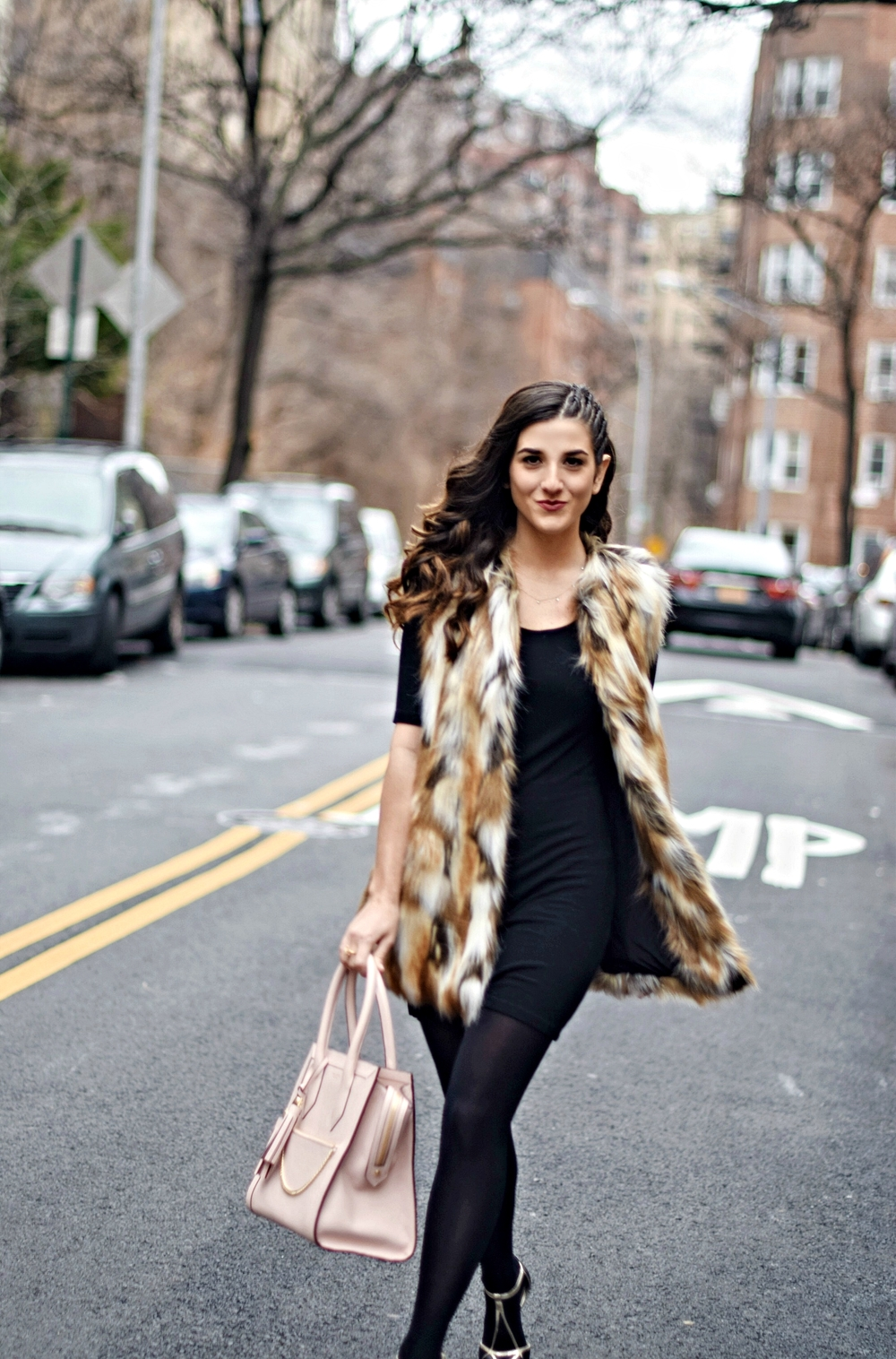 Calico Fur Henri Bendel Structured Leather Bag Louboutins & Love Fashion Blog Esther Santer NYC Street Style Blogger Zara Gold Jewelry Bracelet Pink Purse Vest Hair Inspo Outfit OOTD Cornrows Black Dress LBD Shoes Heels Girl Women Winter Fall Shopping.jpg