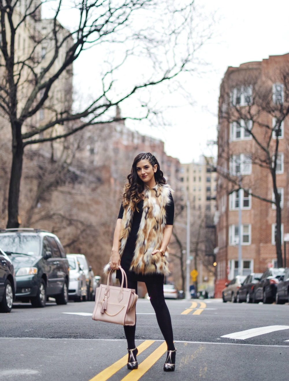 Calico Fur Henri Bendel Structured Leather Bag Louboutins & Love Fashion Blog Esther Santer NYC Street Style Blogger Zara Gold Jewelry Bracelet Pink Purse Vest Hair Inspo Outfit OOTD Cornrows LBD Black Dress Heels Shoes Women Girl Fall Winter Shopping.jpg