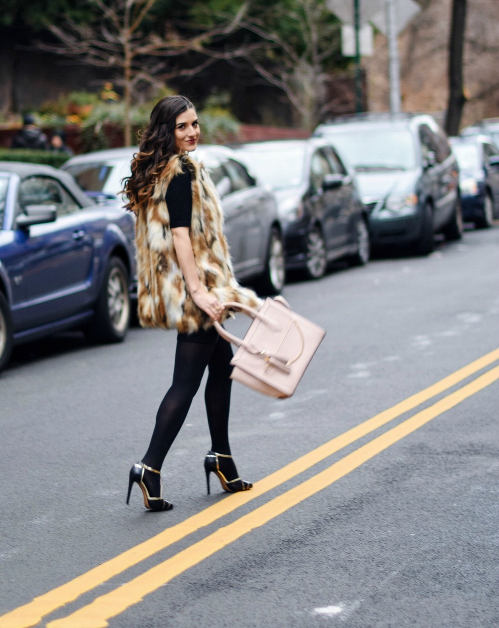 Calico Fur Henri Bendel Structured Leather Bag Louboutins & Love Fashion Blog Esther Santer NYC Street Style Blogger Zara Gold Jewelry Bracelet Pink Purse Vest Hair Inspo Outfit OOTD Cornrows Black Dress LBD Shoes Heels Women Girl Fall Winter Shopping.jpg
