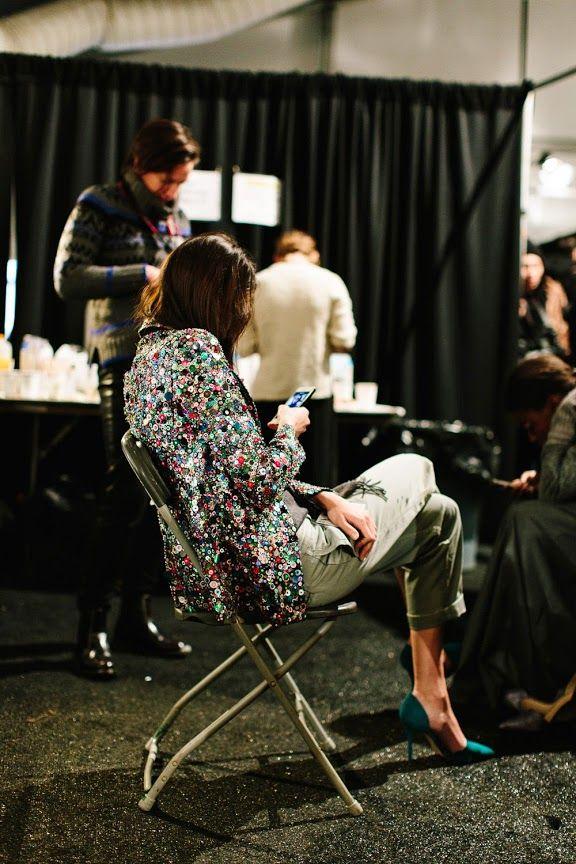 J. Crew L&L Spotlight Louboutins & Love Fashion Blog Esther Santer NYC Street Style Blogger Jenna Lyons Batsheva Loeb Preppy Waspy Navy Embellishments Chic Backstage Models Sequin Blazer Phone New York Fashion Week Satin Heels.jpg