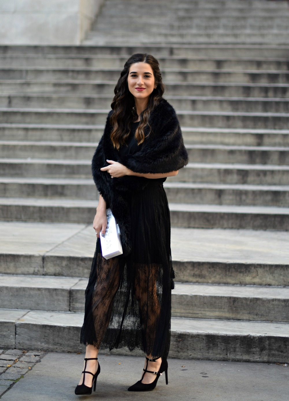 All Black Lace Skirt Fur Stole Louboutins & Love Fashion Blog Esther Santer NYC Street Style Blogger Outfit OOTD Classy Fancy Look Winter Wear Women Girls Monochrome Monogram Clutch Heels Zara Stiletto Beautiful Photoshoot Shoes Shop Inspo Inspiration.jpg