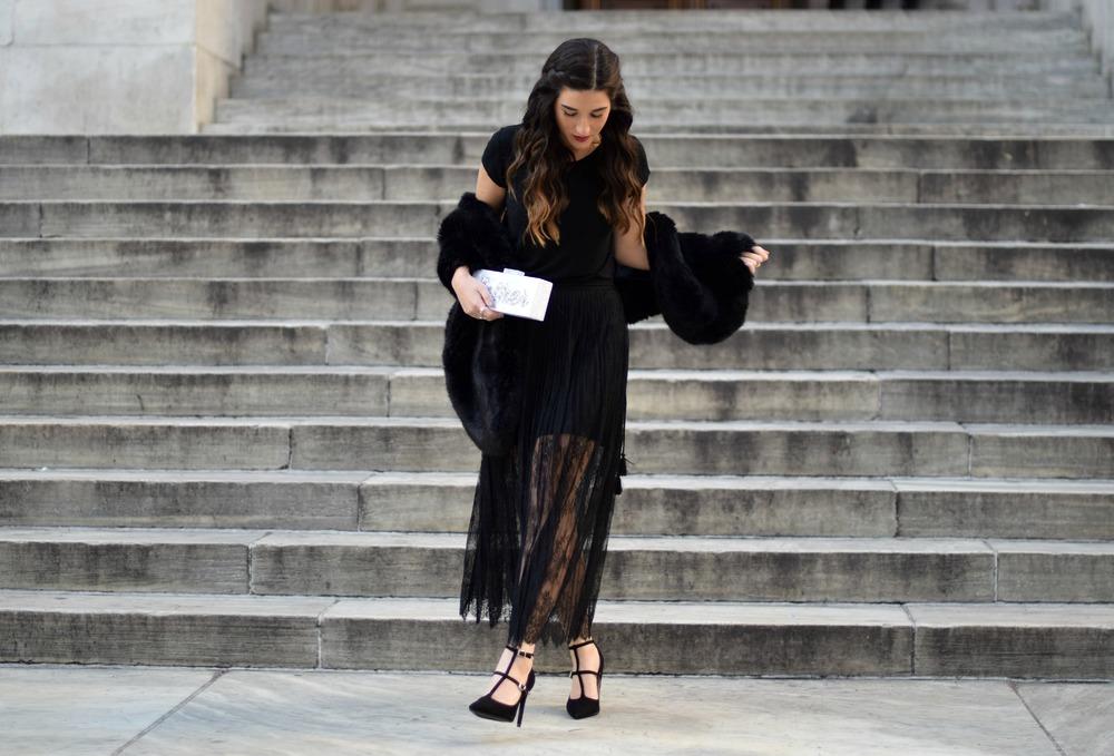 All Black Lace Skirt Fur Stole Louboutins & Love Fashion Blog Esther Santer NYC Street Style Blogger Outfit OOTD Classy Fancy Look Winter Wear Women Girls Monochrome Monogram Clutch Photoshoot Zara Heels Beautiful Stiletto Shop Shoes Inspiration Inspo.jpg