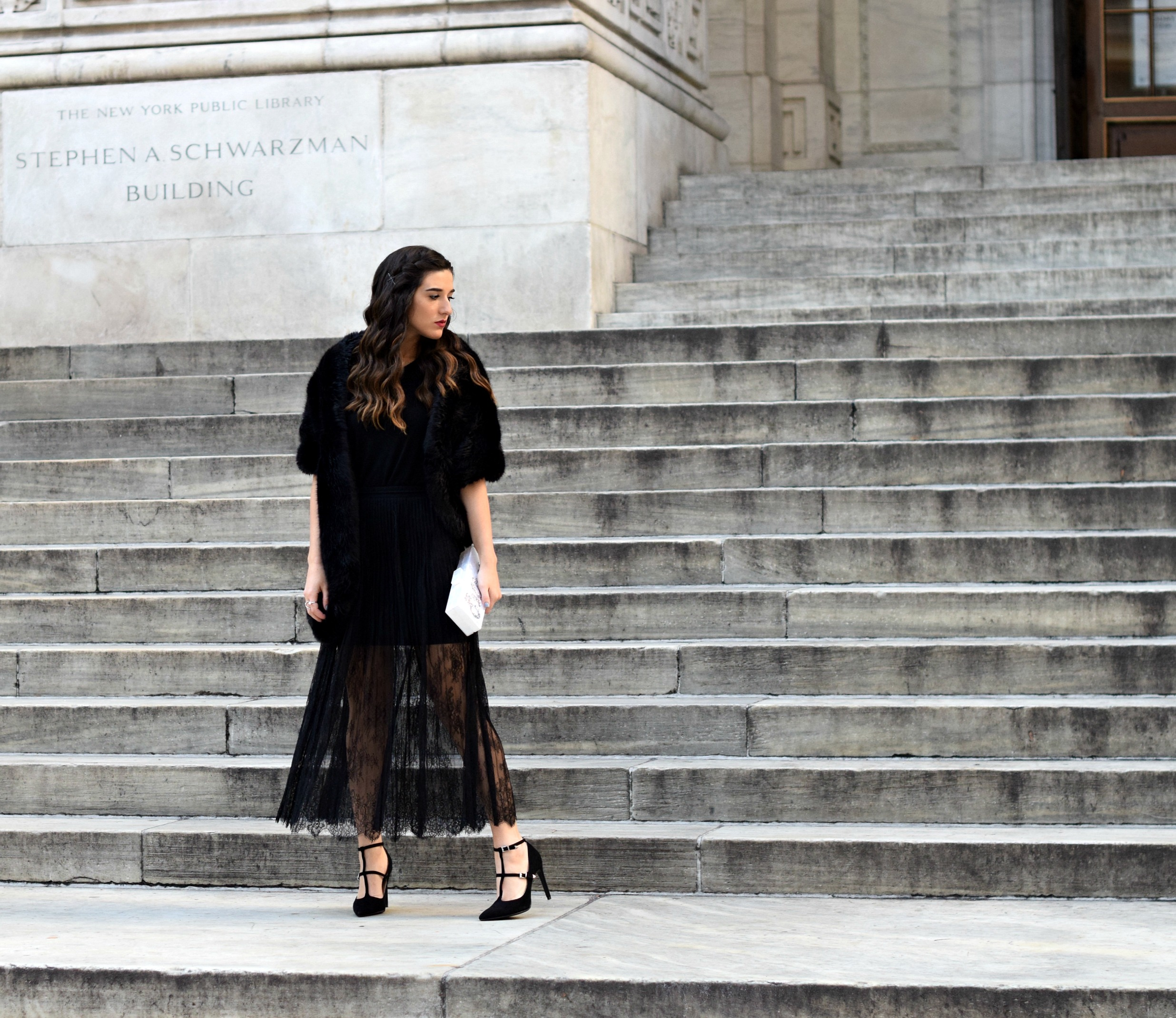 4551a64dc8 All Black Lace Skirt Fur Stole Louboutins & Love Fashion Blog Esther Santer  NYC Street Style