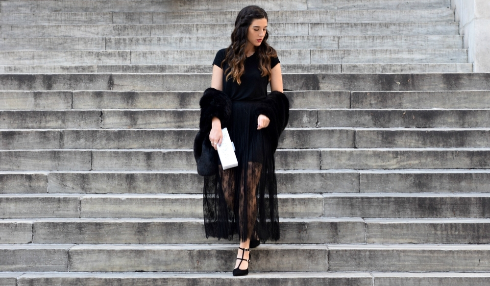 All Black Lace Skirt Fur Stole Louboutins & Love Fashion Blog Esther Santer NYC Street Style Blogger Outfit OOTD Classy Fancy Look Winter Wear Women Girls Monochrome Monogram Clutch Zara Heels Stiletto Photoshoot Beautiful Shop Shoes Inspo Inspiration.jpg