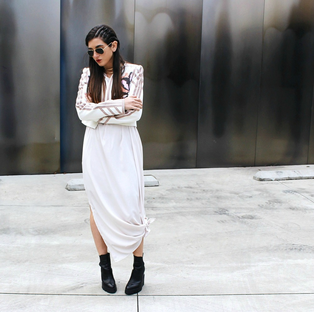 Knotted Maxi Dress Zehava Harel Louboutins & Love Fashion Blog Esther Santer NYC Street Style Blogger Blush Pink Modest Outfit OOTD BCBG Jacket Ash Booties Gold Collar Necklace RayBan Aviator Sunglasses Cornrows Designer Inspo Accessories Model Women.jpg