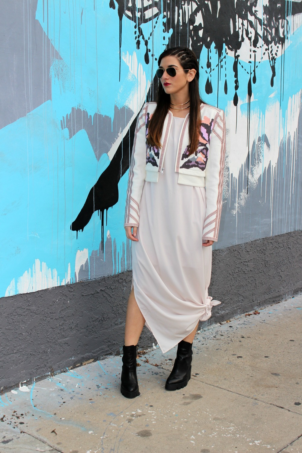 Knotted Maxi Dress Zehava Harel Louboutins & Love Fashion Blog Esther Santer NYC Street Style Blogger Blush Pink Modest Outfit OOTD BCBG Jacket Ash Booties Gold Collar Necklace RayBan Aviator Sunglasses Hair Inspo  Model Accessories Wear Model Women.jpg