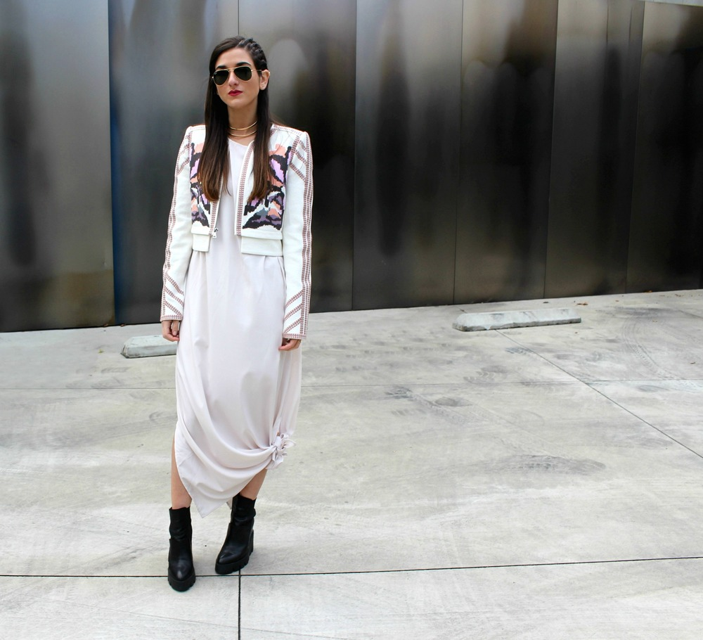 Knotted Maxi Dress Zehava Harel Louboutins & Love Fashion Blog Esther Santer NYC Street Style Blogger Blush Pink Modest Outfit OOTD BCBG Jacket Ash Booties Gold Collar Necklace RayBan Aviator Sunglasses Hair Model Wear Inspo Accessories Model Women.jpg
