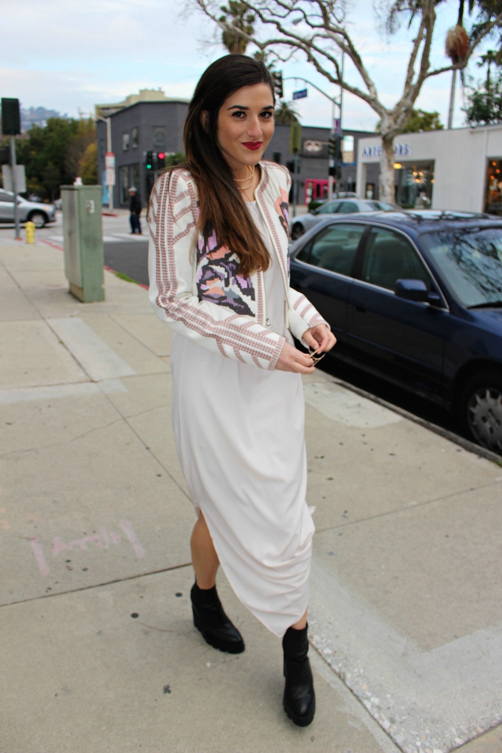 Knotted Maxi Dress Zehava Harel Louboutins & Love Fashion Blog Esther Santer NYC Street Style Blogger Blush Pink Modest Outfit OOTD BCBG Jacket Ash Booties Gold Collar Necklace RayBan Aviator Sunglasses Hair Inspo  Model Wear Accessories Model Women.jpg