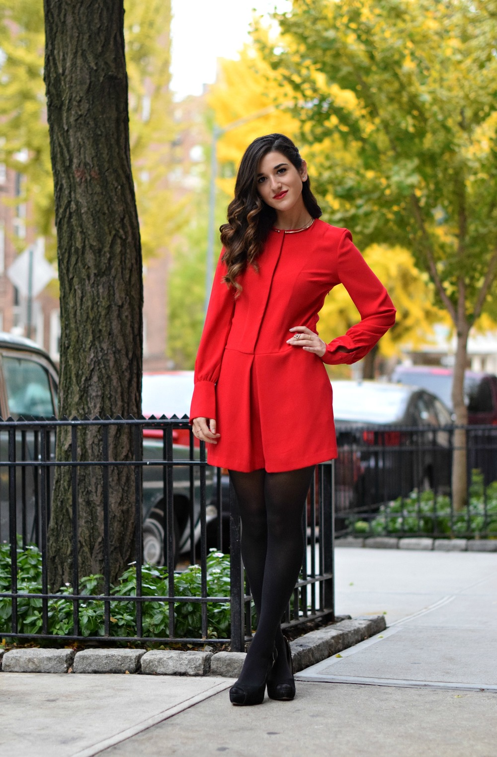 Red Romper Black Tights Louboutins & Love Fashion Blog Esther Santer NYC Street Style Blogger Winter Fall Look Shoes Heels Zara Gold Collar Necklace Braid Hair Inspo Outfit OOTD Photoshoot NYC Girl Women Model Stiletto Wear Shop Accessories Clothing.jpg