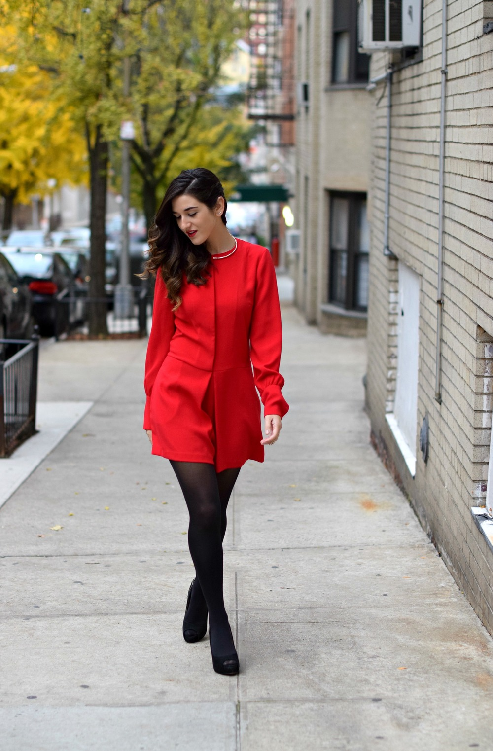 Red Romper Black Tights Louboutins & Love Fashion Blog Esther Santer NYC Street Style Blogger Winter Fall Look Shoes Heels Zara Gold Collar Necklace Braid Hair Inspo Outfit OOTD Photoshoot NYC Girl Women Stiletto Wear Shop  Clothing Model Accessories.jpg