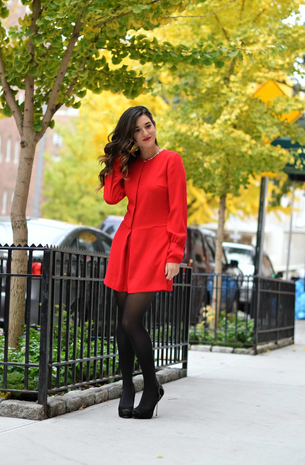 Red Romper Black Tights Louboutins & Love Fashion Blog Esther Santer NYC Street Style Blogger Winter Fall Look Shoes Heels Zara Gold Collar Necklace Braid Hair Inspo Outfit OOTD Photoshoot NYC Girl Women Stiletto Model Wear Shop Clothing Accessories.jpg