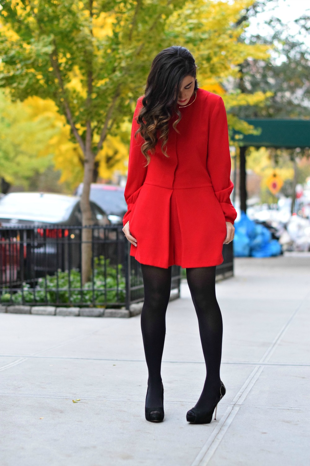 Red Romper Black Tights Louboutins & Love Fashion Blog Esther Santer NYC Street Style Blogger Winter Fall Look Shoes Heels Zara Gold Collar Necklace Braid Hair Inspo Outfit OOTD Photoshoot NYC Girl Women Stiletto Wear Shop Model Clothing Accessories.jpg