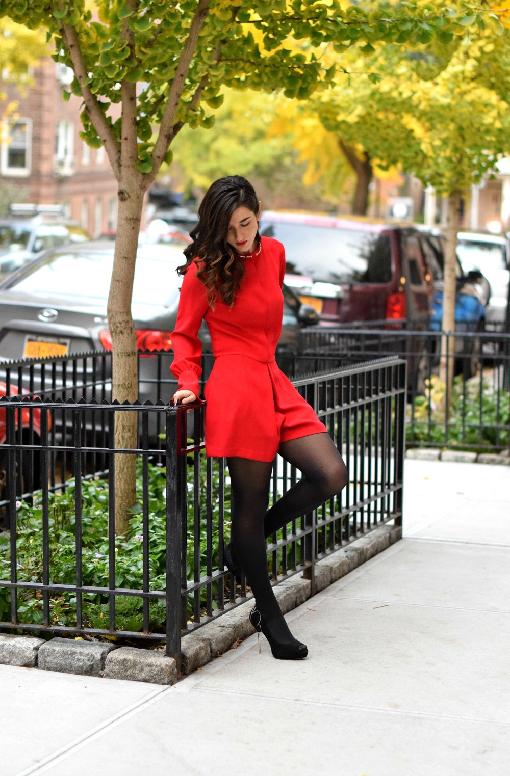 Red Romper Black Tights Louboutins & Love Fashion Blog Esther Santer NYC Street Style Blogger Winter Fall Look Shoes Zara Heels Gold Collar Necklace Braid Hair Inspo Outfit OOTD Photoshoot NYC Girl Women Stiletto Wear Shop  Clothing Model Accessories.jpg