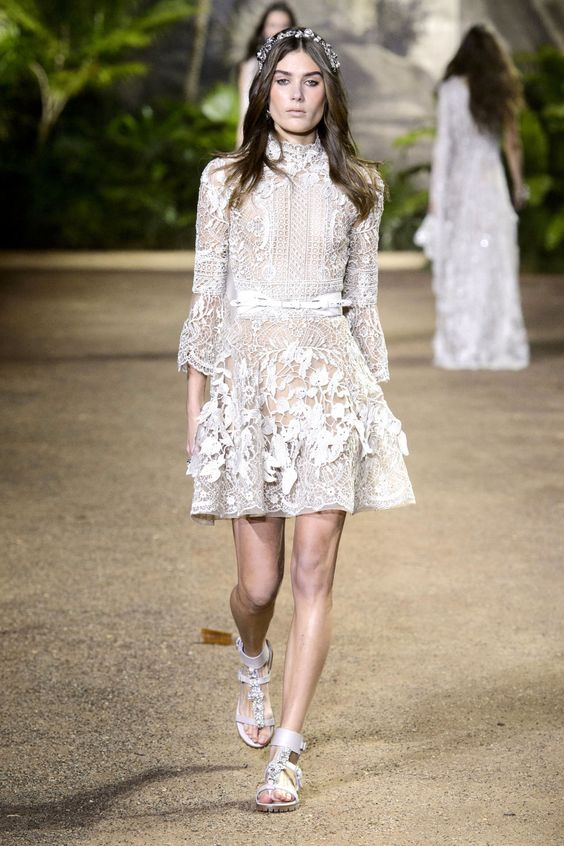 Paris Haute Couture Week Spring Summer 2016 Louboutins & Love Fashion Blog Esther Santer NYC Street Style Runway Models Beautiful Details Designer Dress Gown Pretty Hair Inspo Shoes Heels Front Row Makeup White Blue Lace Beauty Embellished Elie Saab.jpg