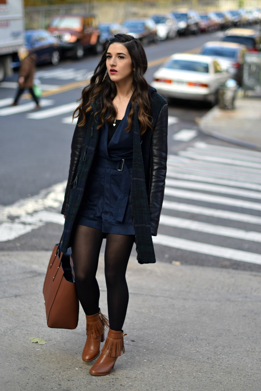 Navy Romper Fringe Booties Louboutins & Love Fashion Blog Esther Santer NYC Street Style Blogger Zara Plaid Coat Leather Sleeves Girl Women OOTD Outfit Accessories Soho Tote Ivanka Trump Black Tights Boots Shoes Winter Hair Braid Inspo Jewelry Rings.jpg
